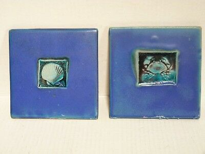 Michael Cohen Blue Crab + Shell Wall Hanging Ceramic Tile Trivet 5-3/4""