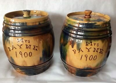 Arts & Crafts Style Large English Pottery Barrell Shaped Lidded Jars Dated 1900