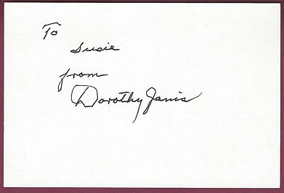 Dorothy Janis, Silent Film Actress, Signed Card, COA, UACC RD 036