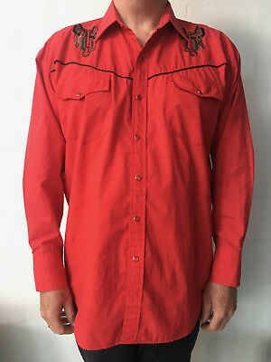 Vintage Red Western Embroidered Shirt Size L-Red Pearl Snaps, Piped Yoke