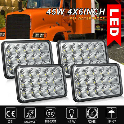 4PCS 4x6'' Hi/Lo Beam LED Headlights Fit Mack Commercial Truck Sealed Beam