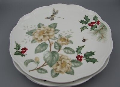 Lenox China BUTTERFLY MEADOW HOLIDAY Dinner Plates - Set of Four - New