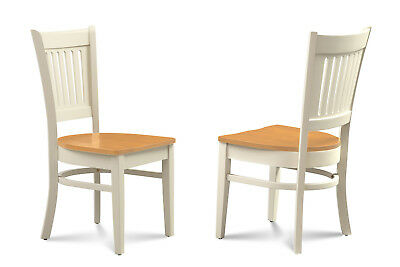 SET OF 2 DINING KITCHEN SIDE CHAIRS w/ WOOD SEATS IN TWO TONE FINISH