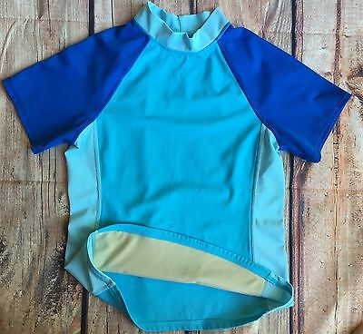 Lands' End water shirt 10 12 beach pool top cover up short sleeved Blue Lands
