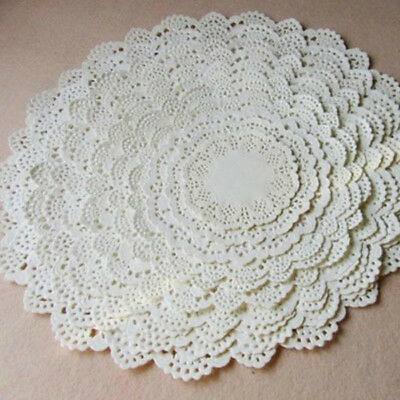 100pcs White Round Paper Lace Doilies for CardMaking Scrapbooking Decoration