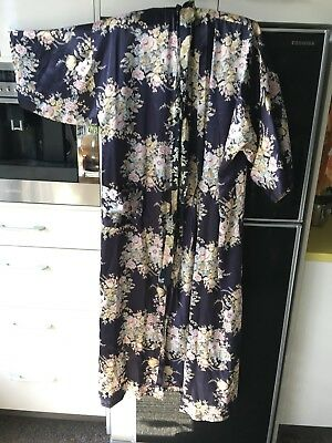 Vintage 80's Long Floral Satin Dressing Gown Kimono Robe Duster Pocket Sussan