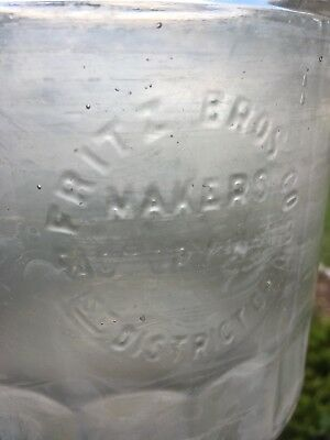 Old Vintage Fritz Brothers Glass Cigar Humidor Jar Factory Makers #113 Tobacco