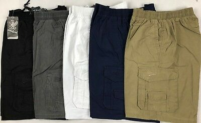 Men's Cargo Workwear Short Full Elastic Waist Drawing String 5 Color  Size S-4XL