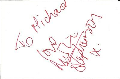Nicola Stephenson actress signed white card dedicated in person autograph Z2599
