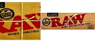 Raw Classic 1 1/4 Natural Rolling Papers 50 Lvs Lowest Prices Buy4@$1.78/Pk! USA