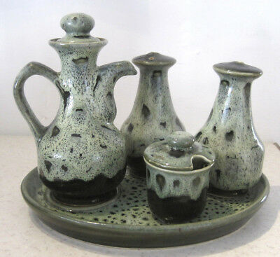 Vintage Fosters Cruet Set Salt Pepper Mustard Pots Cornish Pottery Cornwall