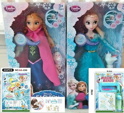 "Frozen Singing Anna & Elsa's(LET IT GO) ,OLAF11.5"" high,2dolls+fever Aqua beads"