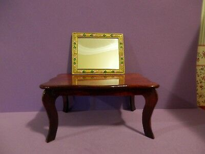 dollhouse miniature 1/12 scale metal gold hand painted framed real wall mirror