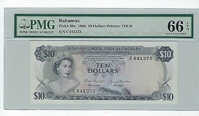 1968 Bahamas  10 Dollars Note Pick# 30a PMG 66 1 of 2 Finest Known