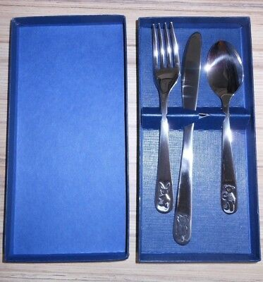 Boxed Christening Cutlery Set with Bunny, Kitten & Bear Stainless Steel