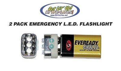 9 Volt LED Emergency Flashlight PACK OF 2 Dirtbike Harley Davidson Saddle Bag