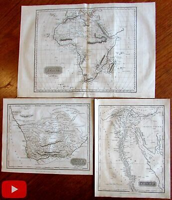 Africa continent 1817 Kelly lot 3 old maps Colony Good Hope & Egypt