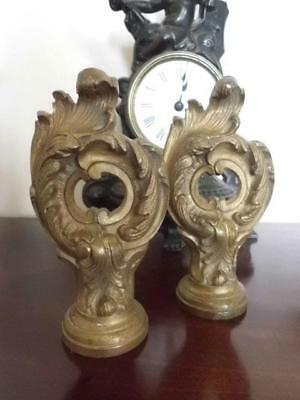 Antique Pair French Bronze Ormolu Drapery Curtain Pole Finials - Acanthus Leaves