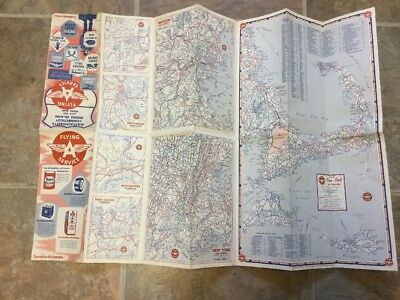 Vintage 1940's Flying A Gas Station Tidewater Map for Lower New England Cape Cod
