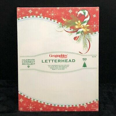 New Candy Cane Christmas Holiday Letterhead Stationery Paper 50 Ct Geographics