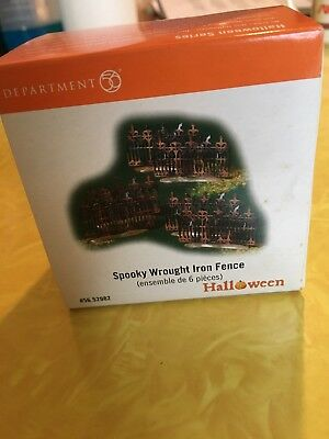 Department 56 Halloween  Spooky Wrought Iron Fence 1 One Box Set Of Six 6 In Box