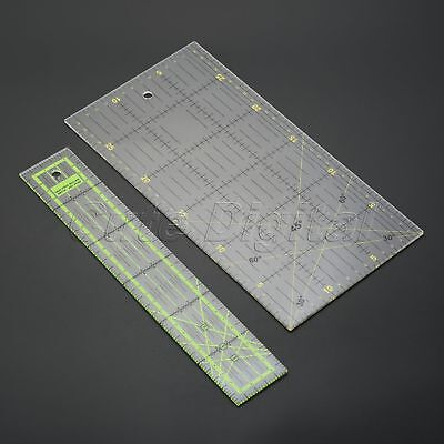 Transparent 2 Size Quilting Sewing Patchwork Ruler Cutting Tool Thick Plastic