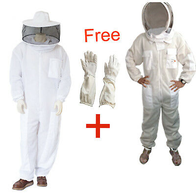 Ultra Ventilated 3 Layer Bee Beekeeping Suit Round & Fencing Veil Bee suit glove