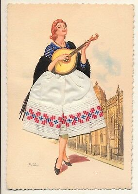Postcard Portugal girl in traditional costume fado singer real material unposted