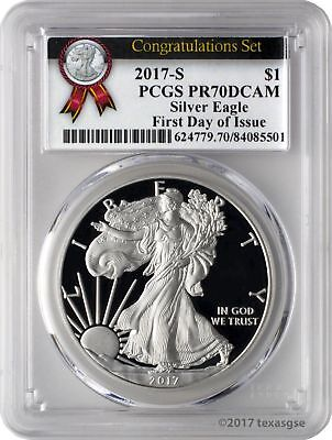 2017-S $1 American Silver Eagle Congratulations Set PCGS PR70DCAM First Day
