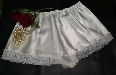 Ivory Satin Lace French Knickers Underwear Sissy Satin Panties Size 26/28  (72)