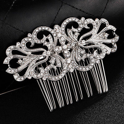 Wedding hair Accessories Crystal Silver Hair Comb Vintage Clip Pin Bridal Bride