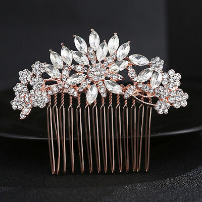 Wedding women hair bride Accessories Gold Hair Comb piece Clip Pin Bridal Rhines