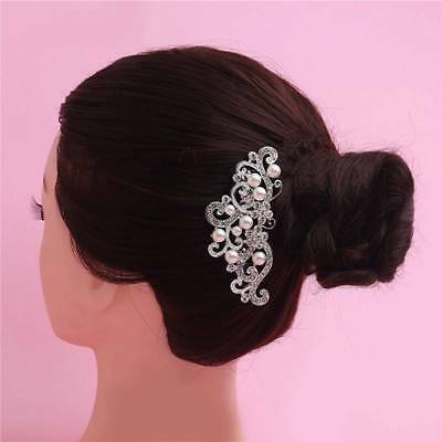 Wedding hair Accessories Silver Hair Comb Pearls Clip Pin Bridal Bride 4