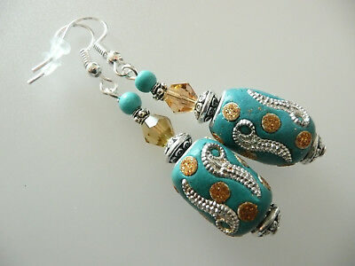 Vintage Art Deco Style Turquoise, Indian Bejewelled Ceramic Bead Long Earrings