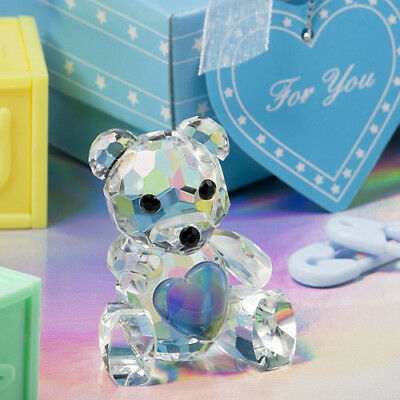 Choice Crystal Collection Teddy Bear Holding Blue Heart Ornament - Gift Boxed