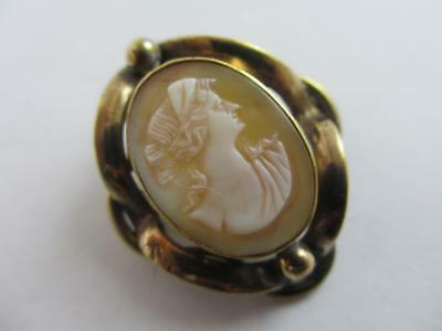 Shell Cameo 9k Gold Cased Brooch Pin Antique Victorian c1890. tbj05996