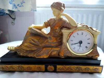French Empire Reproduction Roman Classical Lady Reading Mantel Gold Colour Clock