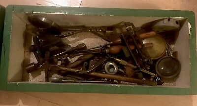 Box Containing A Collection Of Vintage Clock/ Watcher's Makers Tools And Parts