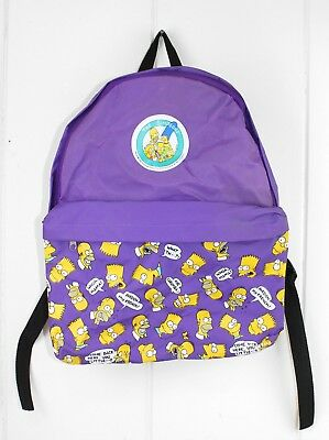 VTG NEW 1990 The Simpsons Backpack Purple Bart Homer Quotes 90s TV RARE
