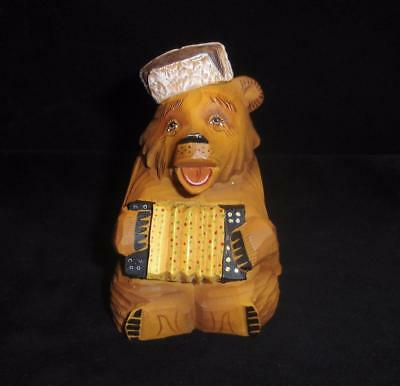 RETIRED G.DeBrekht ACCORDION BEAR Limited Edition 2000-1 Carved Bear Russian New