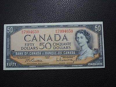 1954 $50 Dollar Bank note Canada Modified B/H7994650 Beattie Rasminsky VF-EF Gr