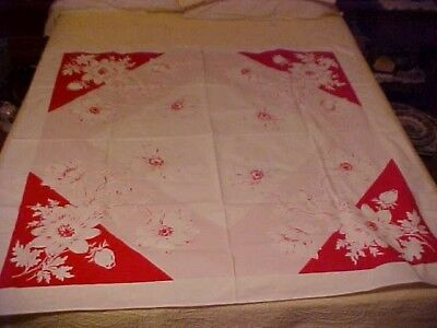 Vintage Printed Tablecloth w/ Flowers FOR CRAFTS