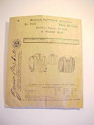 c1900 Period McCalls Pattern no 9533 Edwardian Childs House Coat 6 years