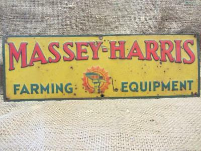 Vintage 1950's Embossed Massey Harris Tractor Sign > Antique Farm Equipment 9884