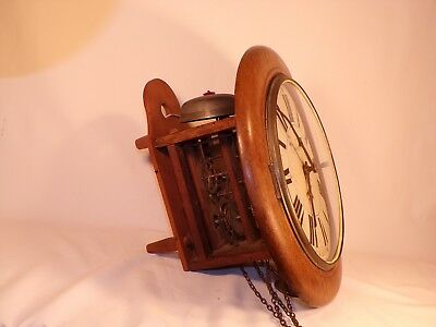 Rare Antique Wall Clock Weight Driven Movement Wood Plates Post Clock