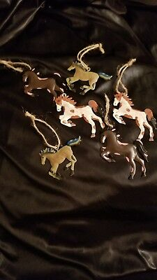 New Lot 6 Metal Pony Christmas Ornaments Horses Cowboy Cowgirl Western Barn