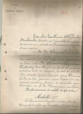 Egypt 1880 The Original Contract Draft Thomas Cook & Sons & Egyptian Government