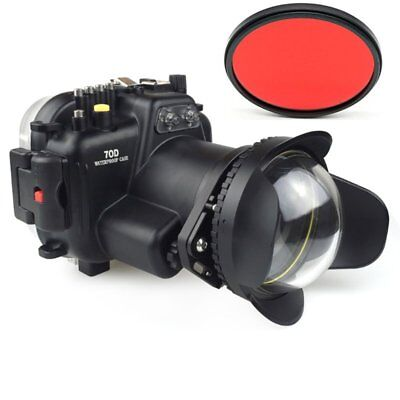 Meikon 40m Waterproof Case + Fisheye Dome Port For Canon EOS 70D 18-135mm Camera