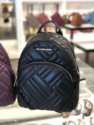 a59e4d6cc0cf NWT MICHAEL KORS ABBEY MEDIUM GEO QUILTED LEATHER BACKPACK Black ...