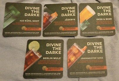 "Jagermeister Coasters...Set of 5...All Different...""Divine The Darke""...NEW"